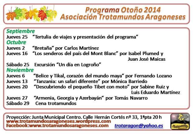 Programa otoño 2014 TrotamundosAragoneses
